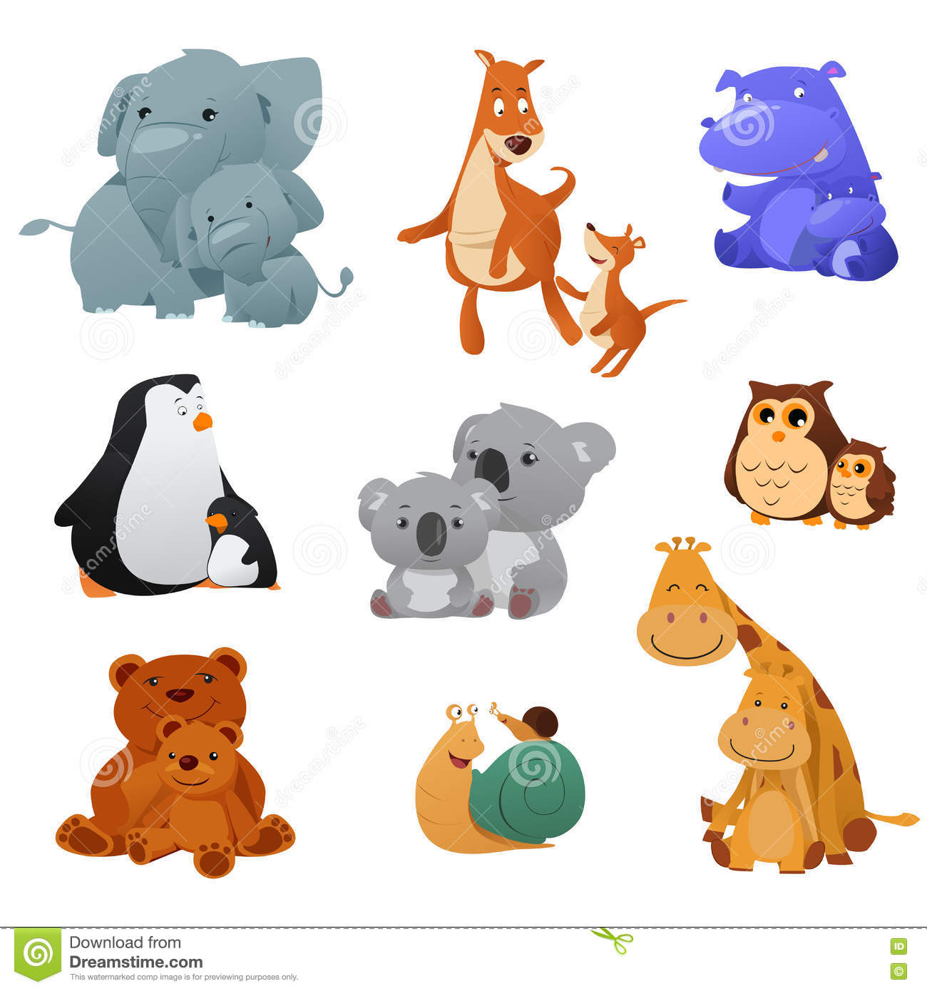 Wild Animals And Their Young Baby Stock Vector.