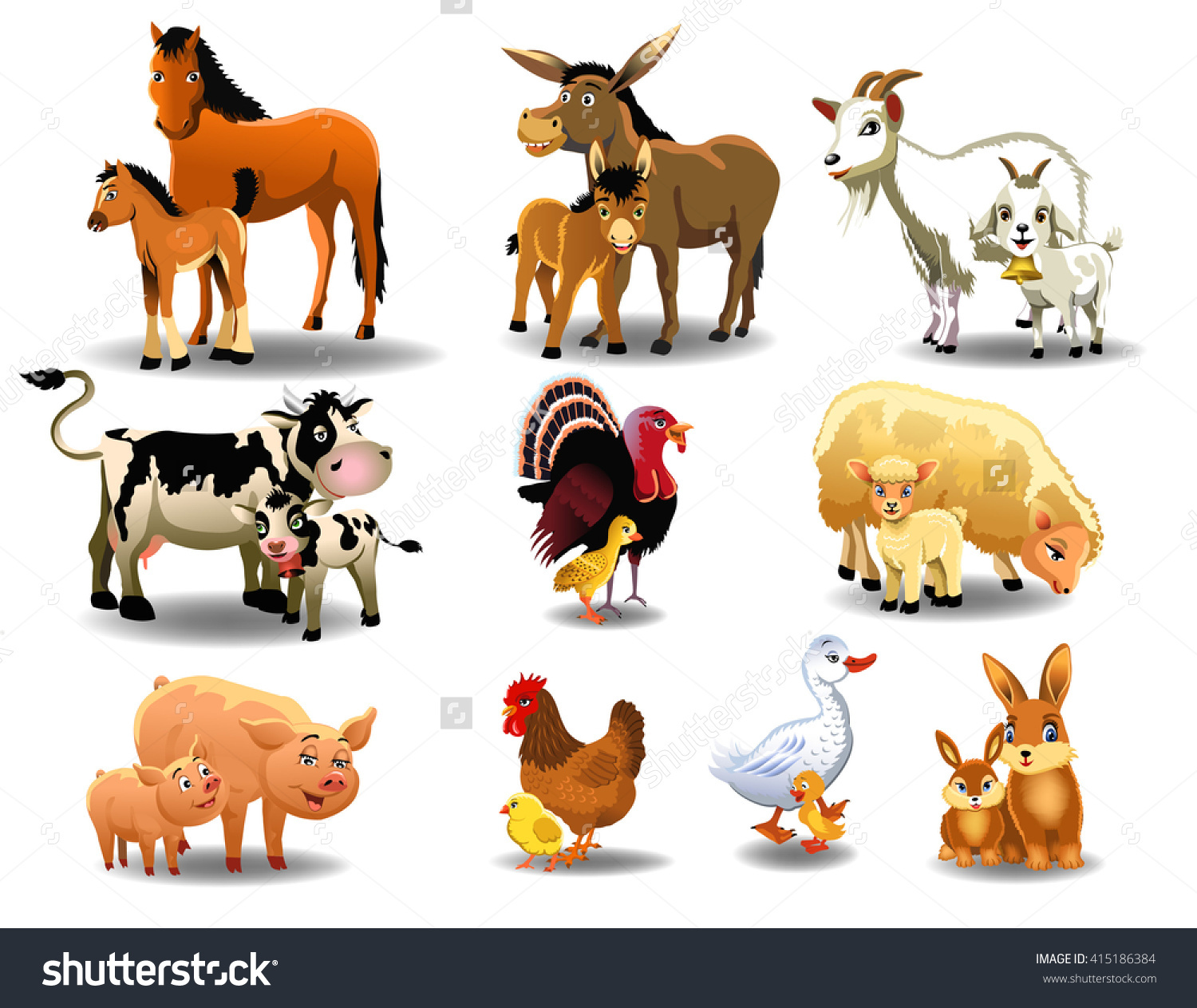 Farm Animals Their Babies Stock Vector 415186384.