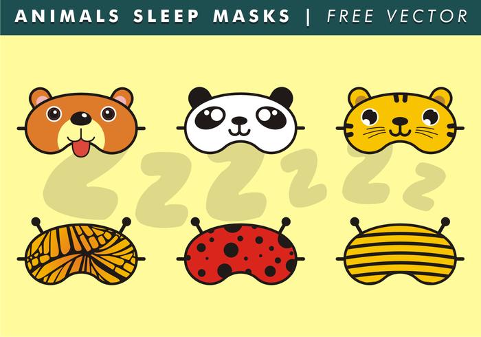 Animals Sleep Masks Free Vector.