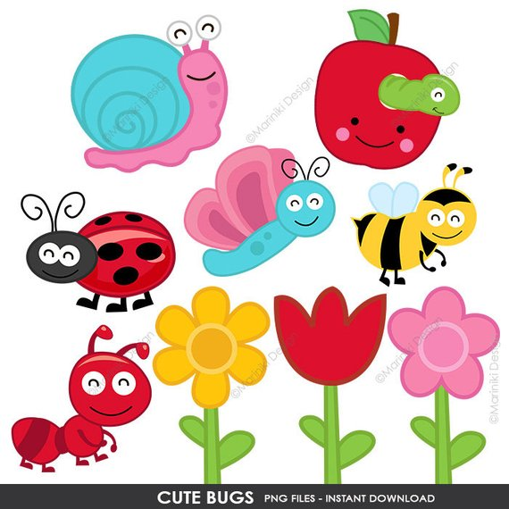 Cute Bugs Clip Art, Bugs Clipart, Bumble Bee Insects Flowers.