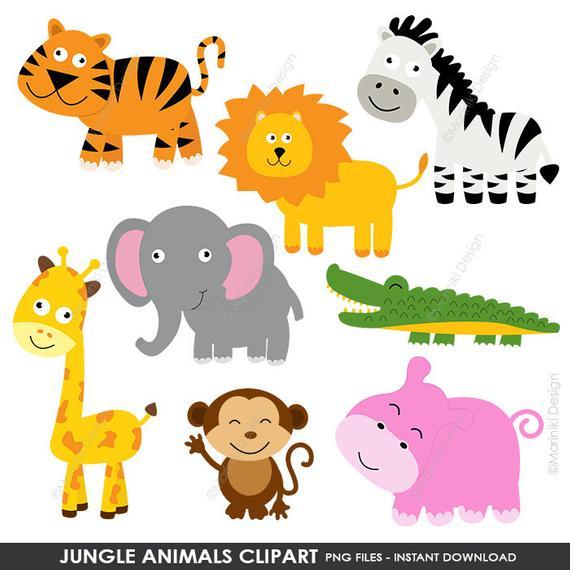 Jungle Animals Clipart, Cute Animals Clip Art, Animals Clipart, Farm  Animals Clipart, Digital Clip Art INSTANT DOWNLOAD CLIPARTS C4.