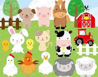 Barn Animal Faces lindo digital Clipart.