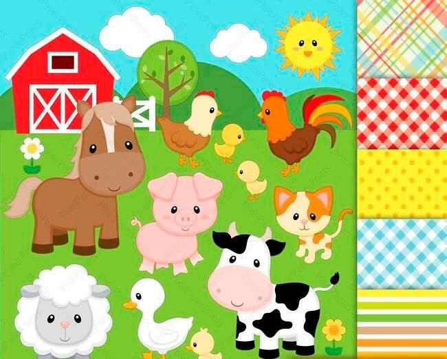 Kit Imprimible Animales De La Granja 26 Clipart.