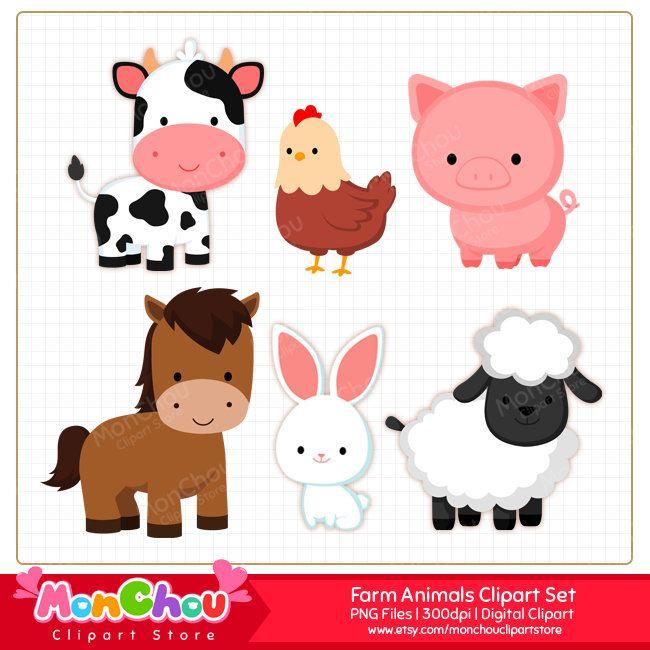 Animales de granja Clipart Set.