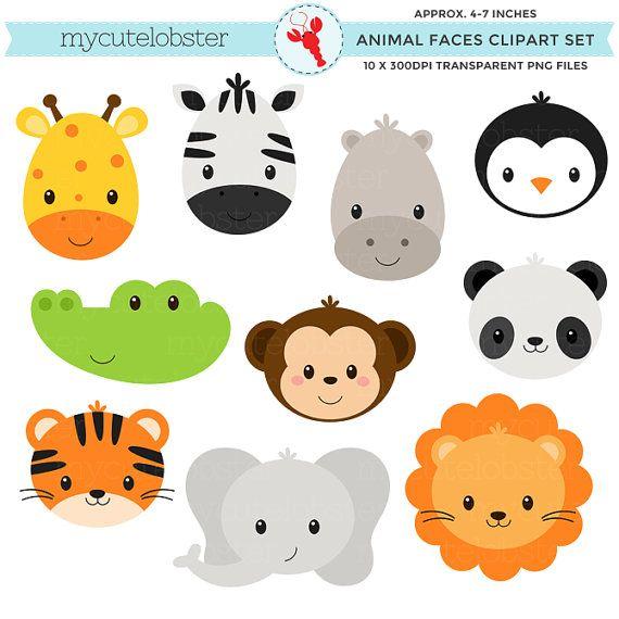 Wild Animal Faces Clipart Set giraffe by.
