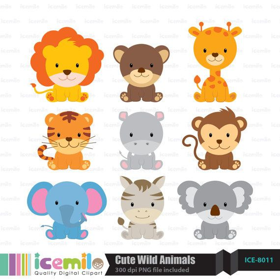 Cute Wild Animals Digital Clipart by IcemiloClipart on Etsy.