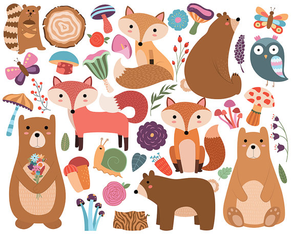 Woodland Animals and Floral Designs Clipart by.