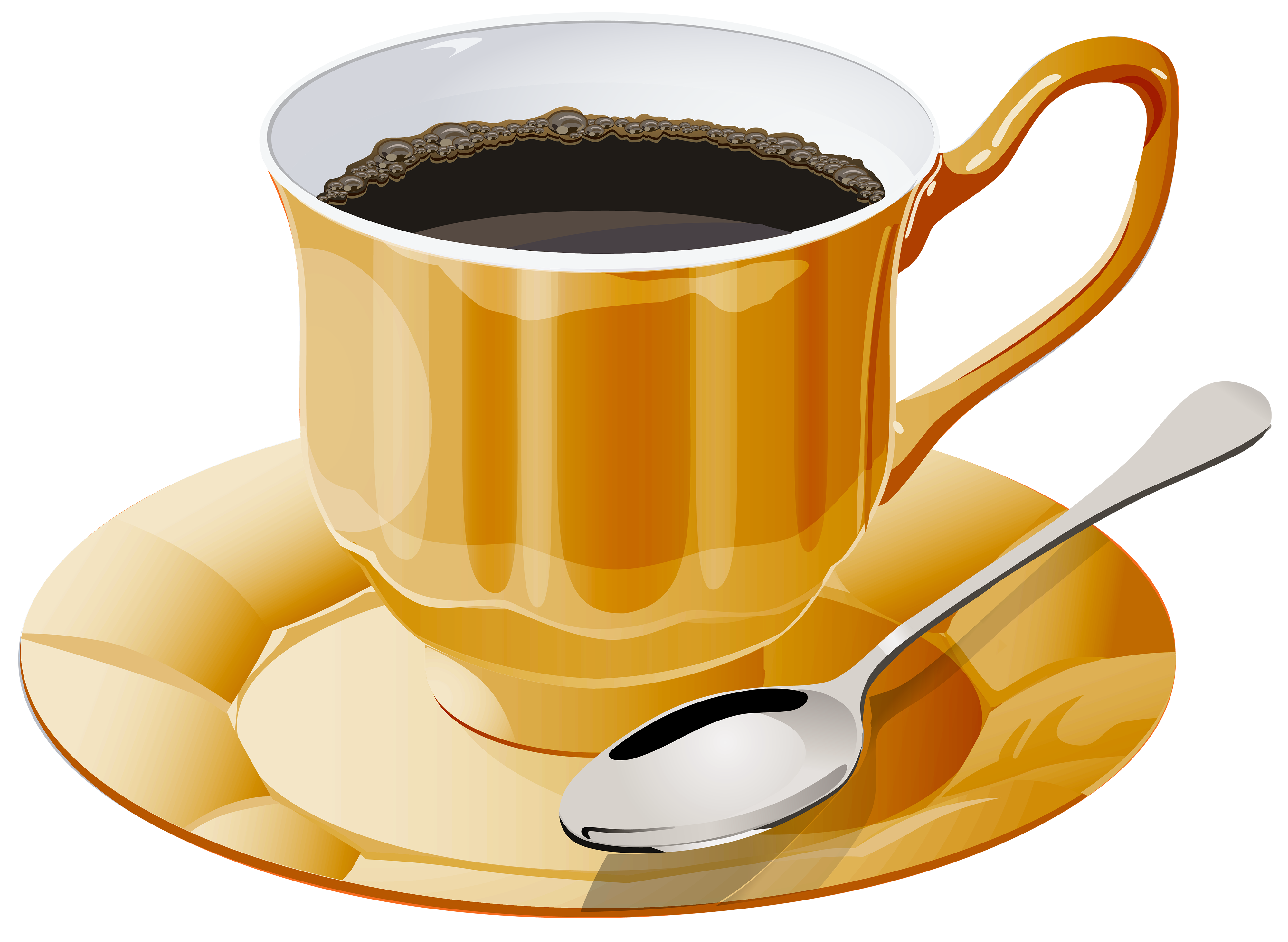 Yellow Cup of Coffee PNG Clipart.