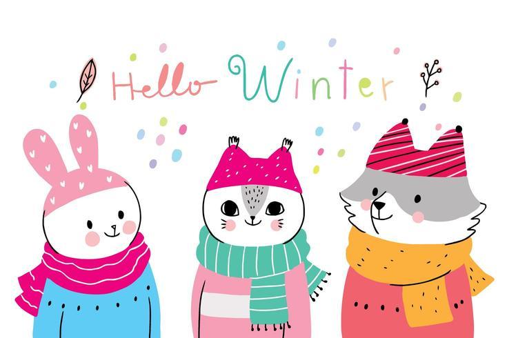 Cartoon cute animals winter, Rabbit and cat and fox vector.