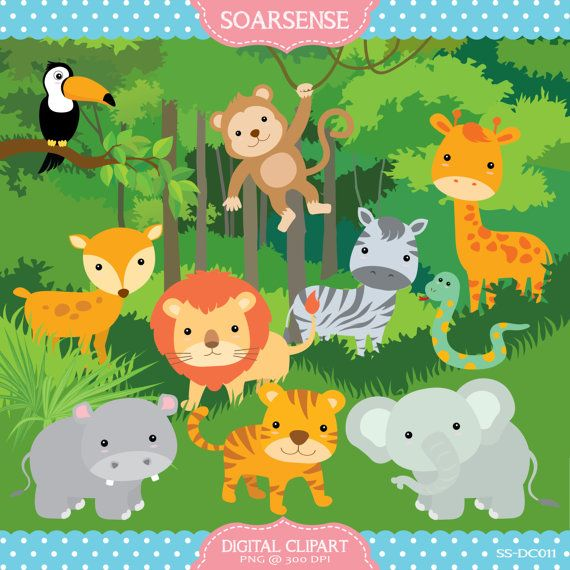 Jungle Clipart, Jungle Animals, Jungle Plants.