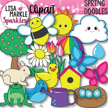 Spring Animals Plants and Things Clipart.