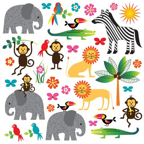 jungle plants and animals clipart.