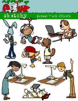 School Technology / Tech Clipart / Graphics 300dpi Color Grayscale.