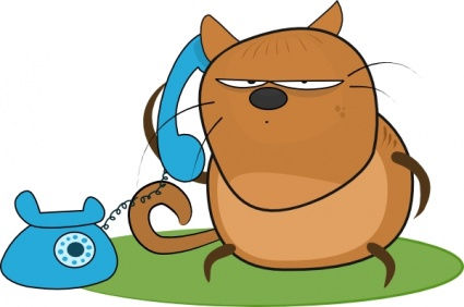 Animal talking on phone clipart.