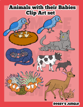 Animals with their babies Clip Art set.