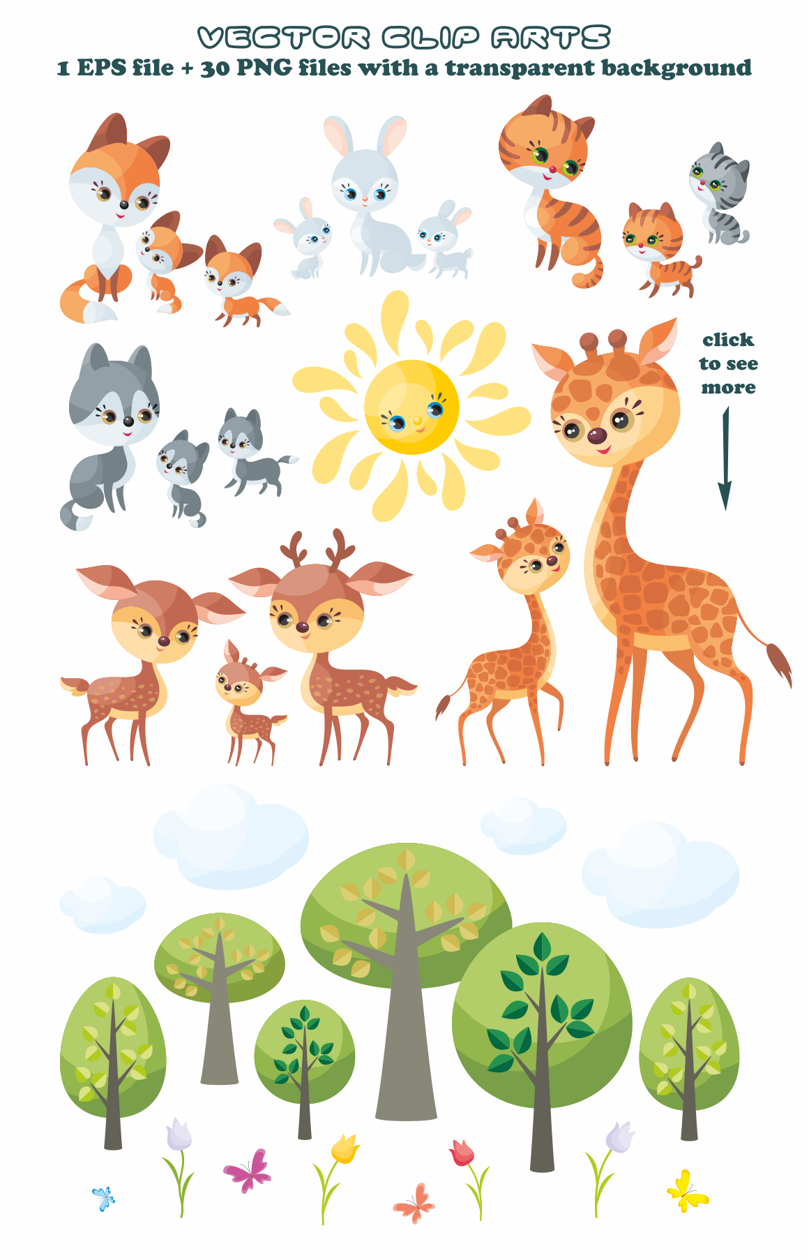 Cute animals and their babies vector clip art illustrations.