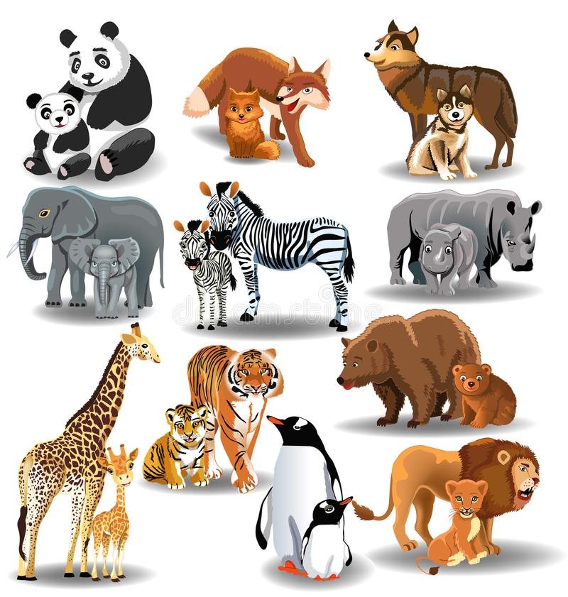 Clipart Of Animals And Their Young.