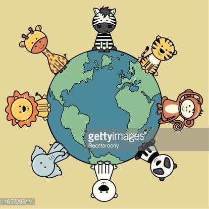 Endangered animals around a globe / world. Clipart Image.