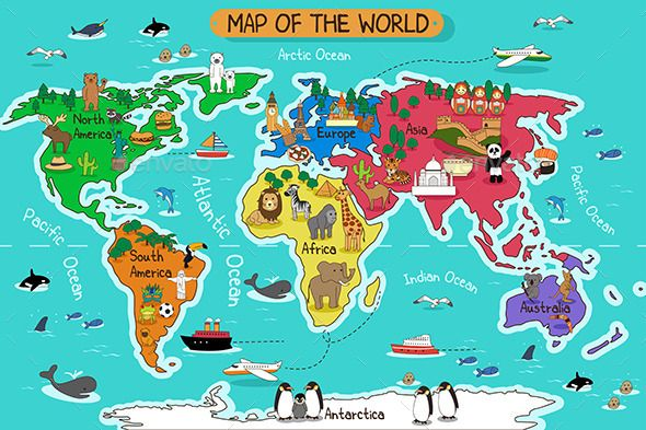 Map of the World (Vector EPS, CS, africa, animals.