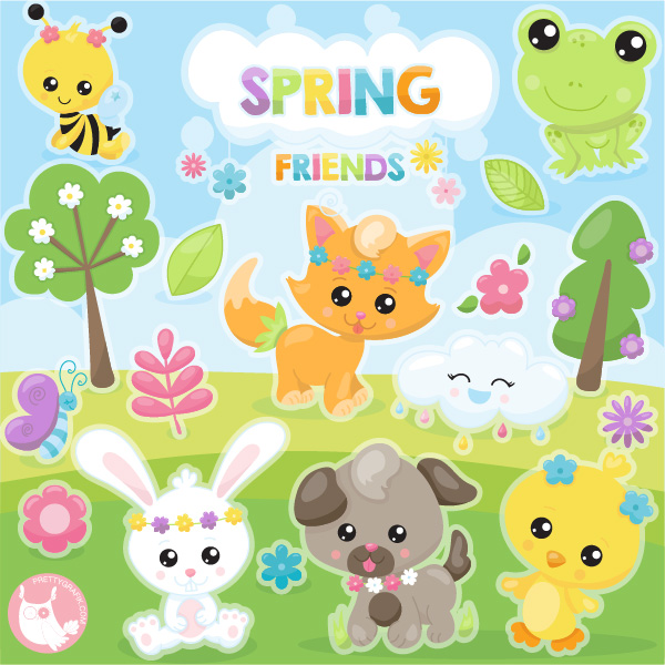 Spring friends clipart.