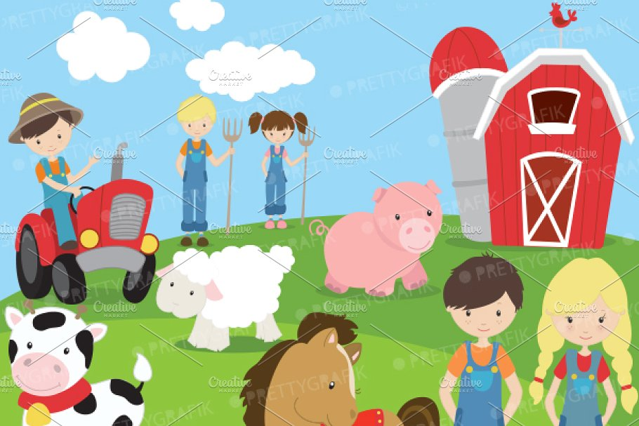 Farm animals and friends clipart.