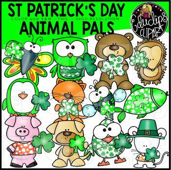St Patrick\'s Day Animal Friends Clip Art Set {Educlips Clipart}.