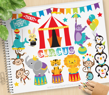 Animals At The Circus Clipart.