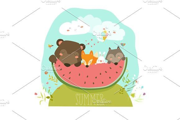 Cute animals eating watermelon slice. Hello summer.