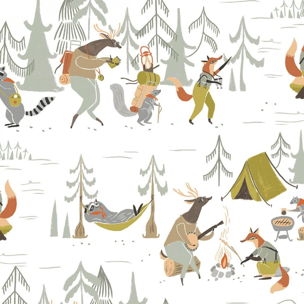 Camp Wander Animal Camping Scenic Campfire Woodland Trees Fox Raccoon  Squirrel Dear Stella Cotton Fabric.