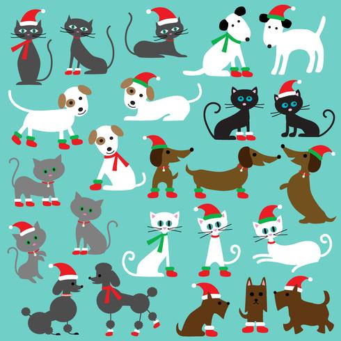 Christmas Cats & Dogs Clipart.
