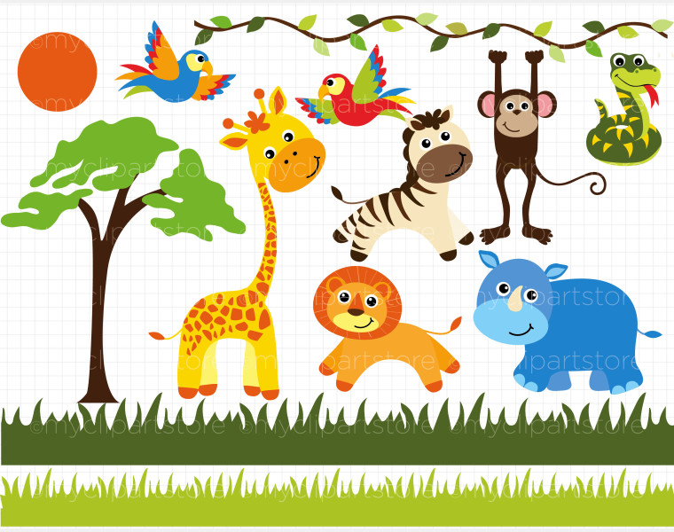 Baby Safari Animals Clipart.
