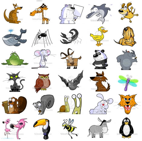 Free animated animals clipart.