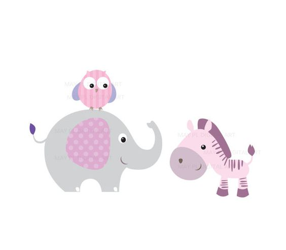 Baby Animals Clipart DIY Baby Shower Pastel Cute Elephant.