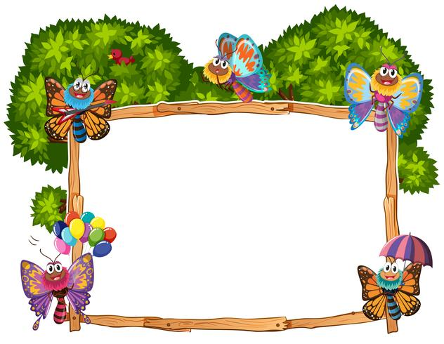 Border template with butterflies in garden.