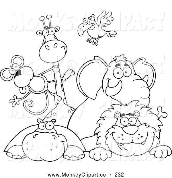 Clip Art of a Coloring Page Outline of Zoo Animals over a Sign by.