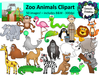 Zoo Animals Clipart Bundle.