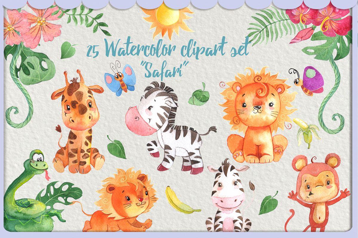 Watercolor Safari Animals clipart pack or kids.