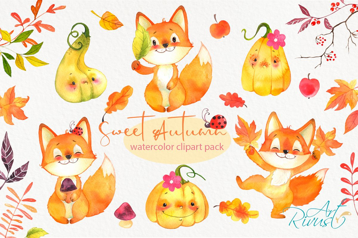 Cute Fall watercolor clipart Forest baby animals clip art..