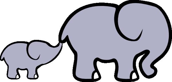 Baby Elephant And Adult Elephant clip art.