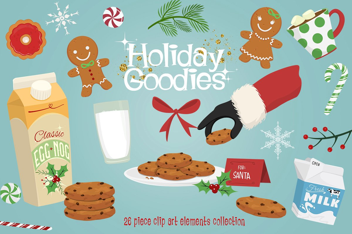Holiday Goodies Cookies & Milk ~ Graphic Objects ~ Creative.