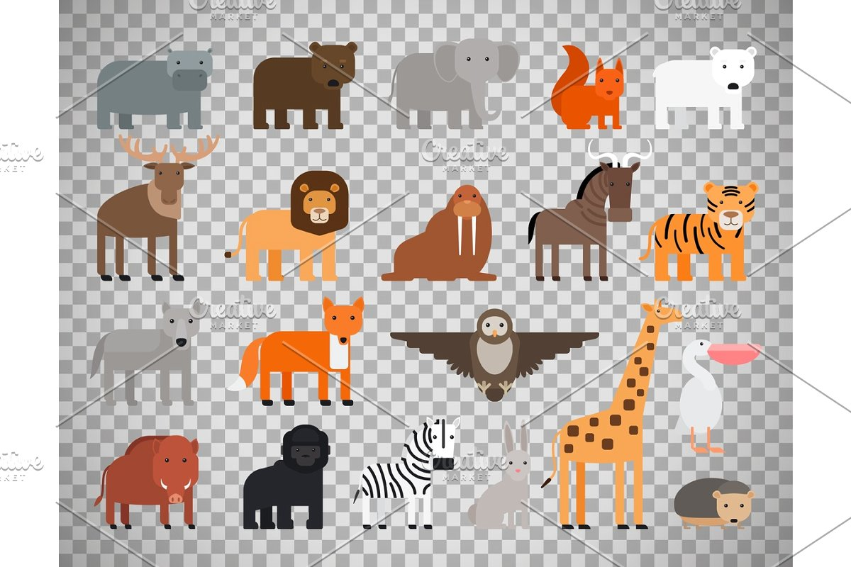 Zoo animals set on transparent background.