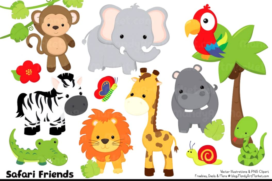 Cute Baby Zoo Animals Clipart.