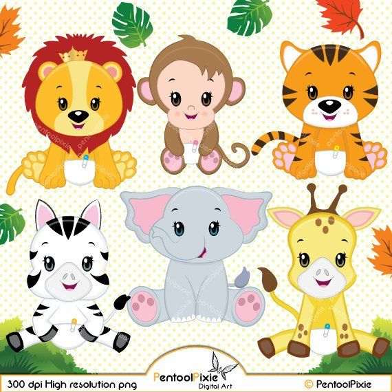 Jungle animal clipart, Baby animals, Safari clipart.