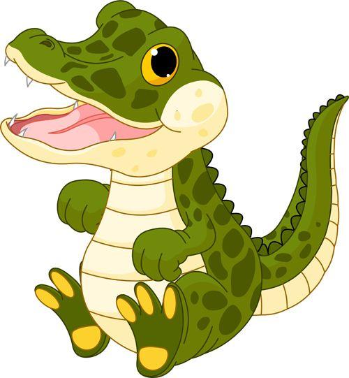 Funny cartoon baby crocodile vector free.