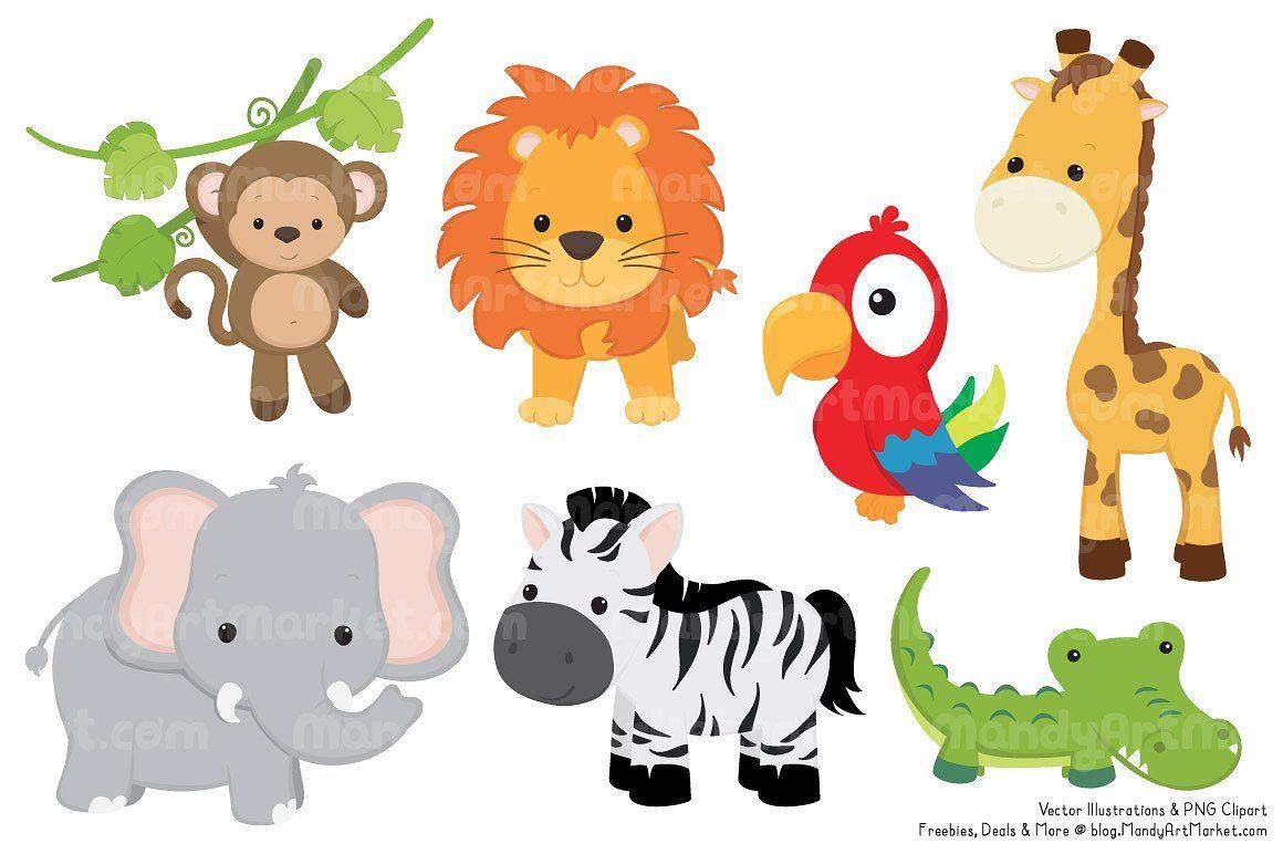 Cute Jungle Animal Clipart by Amanda Ilkov on.