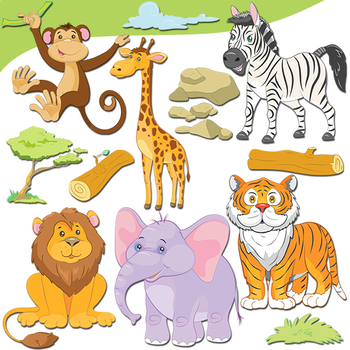 Jungle Animals Clipart, Cute Safari Animals.