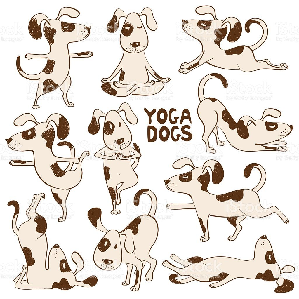 Set of isolated cartoon funny dogs icons doing yoga position.