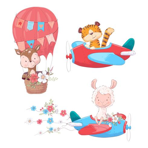 Set cartoon cute animals tiger deer and llama on an airplane.