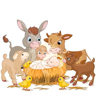 Holy child with animals vector.