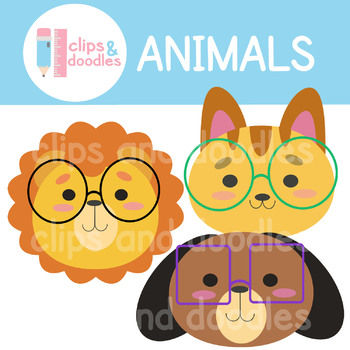 Animals Wearing Glasses Clipart Set.